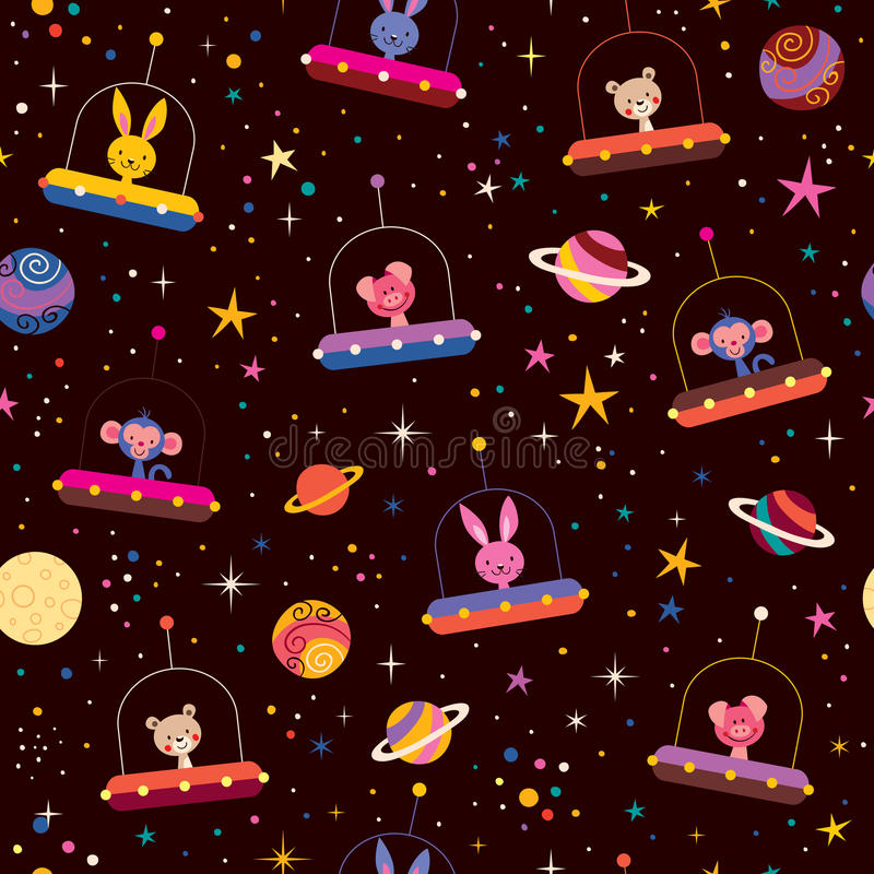 Cute animals in space kids pattern stock illustration