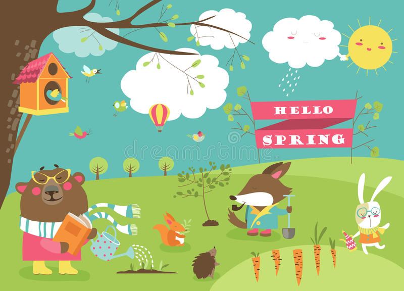 Cute animals in spring forest. Cute cartoon animals in spring forest. Vector illustration stock illustration