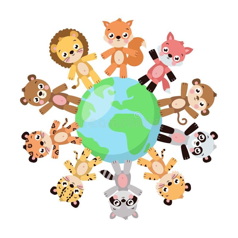 Cute animals standing around globe stock illustration