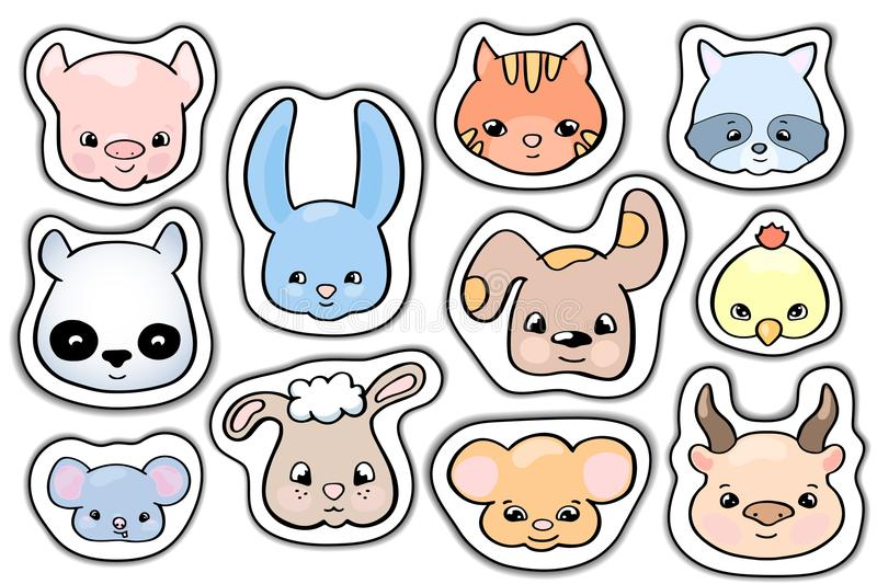 Cute animals stickers. Smile animal head vector clipart. Handdrawn domestic and wild animal face. stock illustration