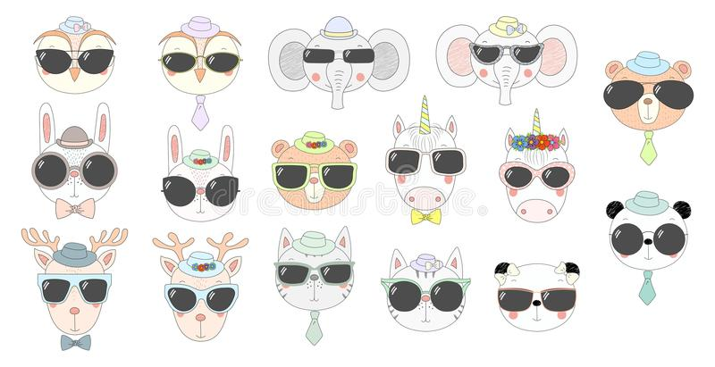 Cute animals in sunglasses. Big set of hand drawn cute funny portraits of cat, bear, panda, bunny, reindeer, unicorn, owl, elephant in sunglasses. Isolated royalty free illustration