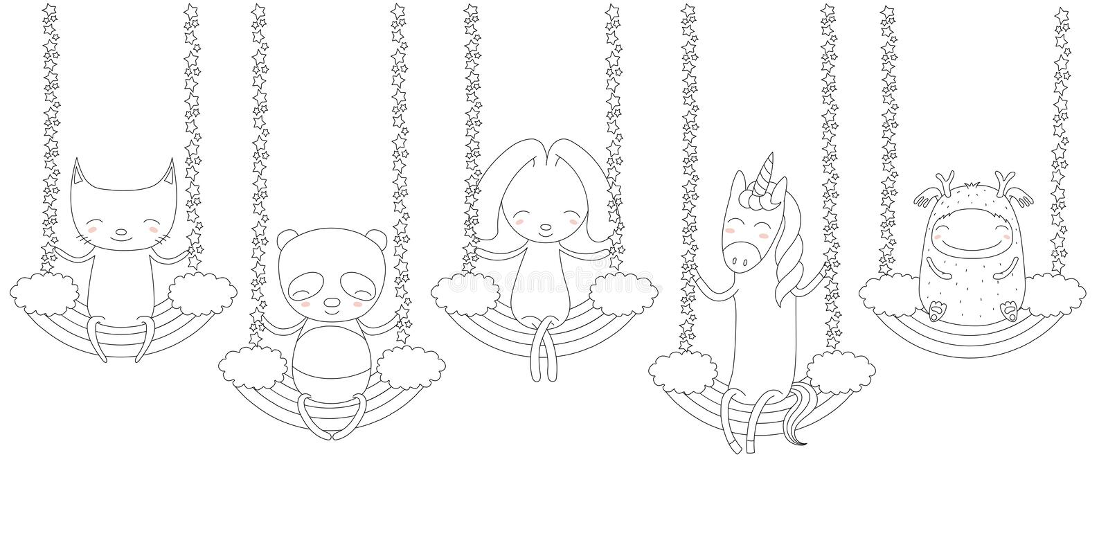 Cute animals swinging on a rainbow coloring pages vector illustration