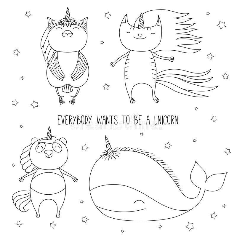 Cute Animals Unicorns Coloring Pages Stock Vector - Illustration of ...