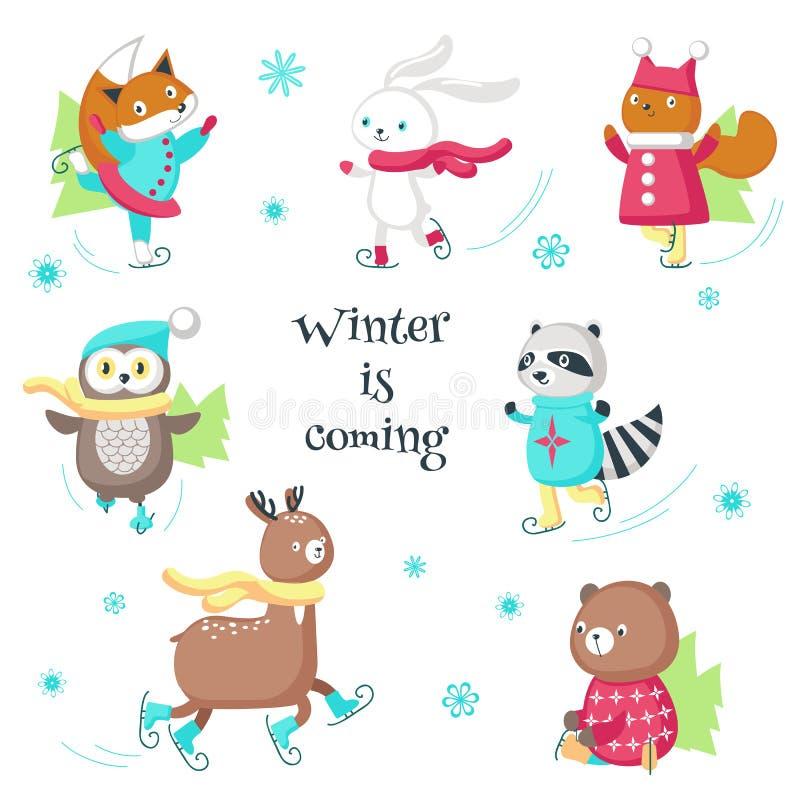 Cute animals ice skating vector isolated illustration stock illustration