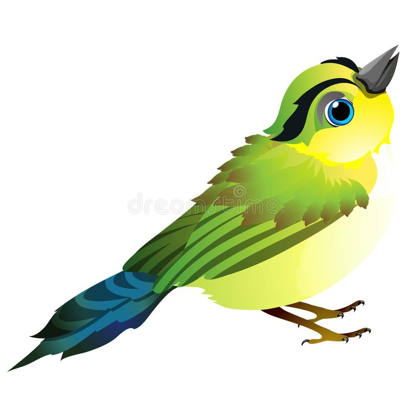 Cute animated bird isolated on white background. Vector cartoon close-up illustration. royalty free illustration