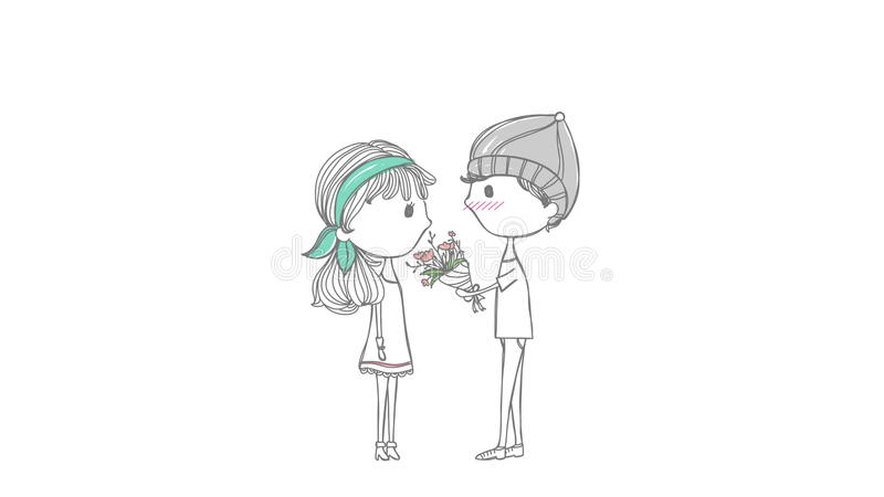 Cute Animation Cartoon Lover Couple With Boy And Girl In Stylish