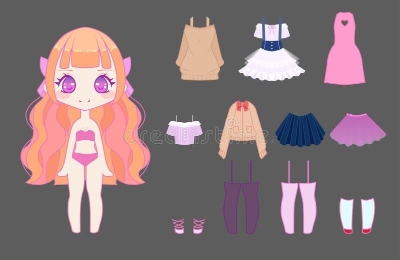 Cute Anime Chibi Girl Stock Vector Illustration Of Body
