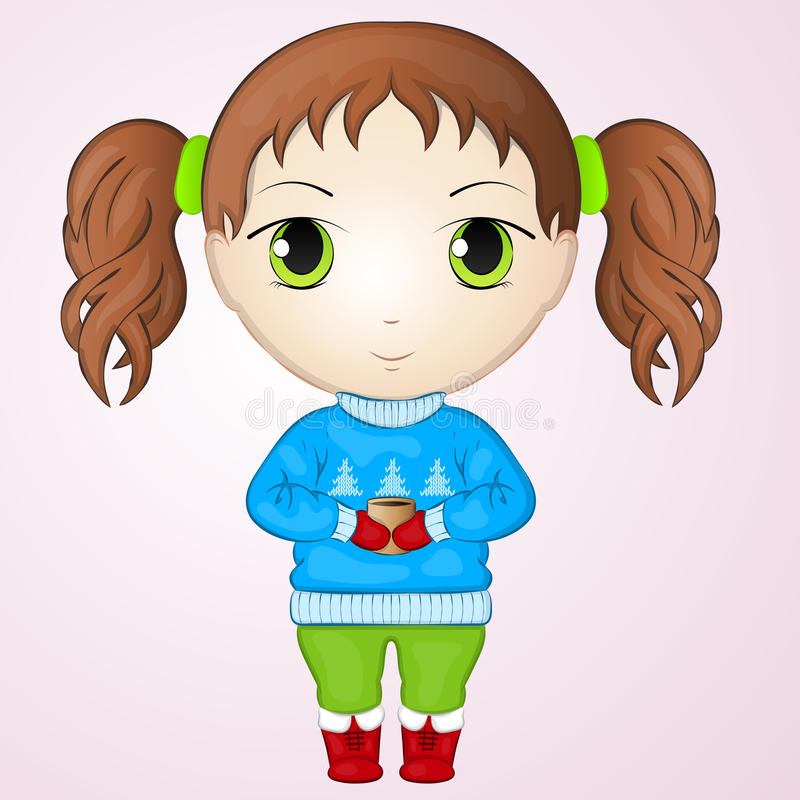 Cute anime chibi little girl wearing sweater and holding cup of warm tea. Simple cartoon style. Vector illustration. NY. Cute anime chibi little girl wearing vector illustration