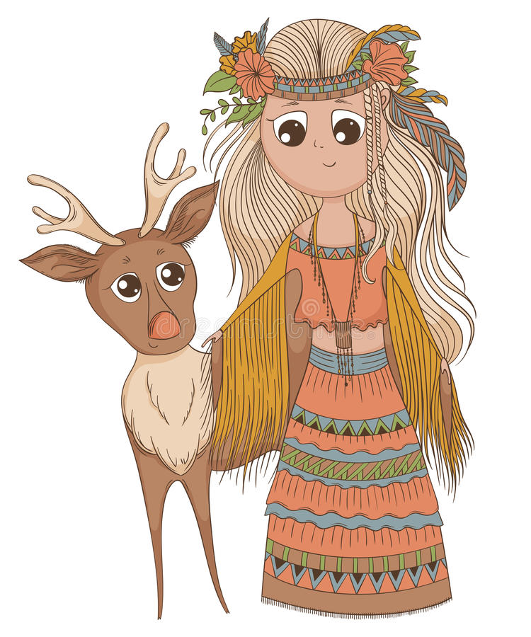 Cute anime girl in ethnic clothes with deer. Cartoon character in boho style. Vector illustration vector illustration