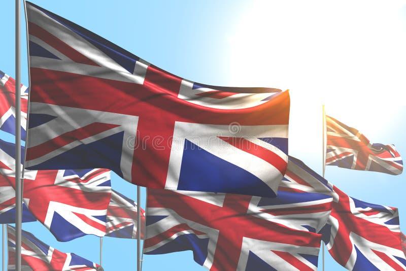 Cute any celebration flag 3d illustration - many United Kingdom UK flags are wave on blue sky background. Cute many United Kingdom UK flags are waving on blue royalty free illustration