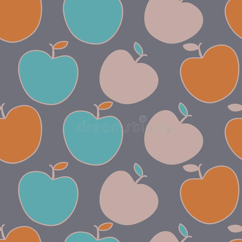 Cute apples in fun fall colors, vector repeat pattern. Perfect for fall decor, children`s clothing or bedding vector illustration