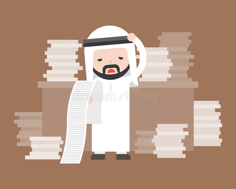 Cute arab business man stress in work place and pile of document stock illustration