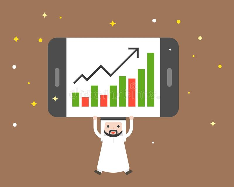 Cute arab businessman carry giant tablet present bar chart, business situation concept stock illustration