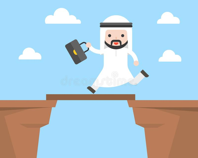 Cute arab businessman cross cliff by bridge, business situation vector illustration