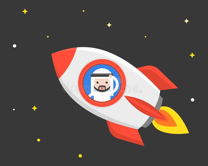 Cute Arab businessman in flying rocket at night scene , business royalty free illustration