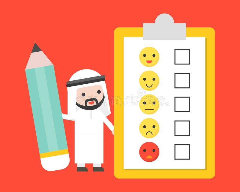 Cute Arab businessman holding giant pencil with customer feedback survey, business template for survey concept royalty free illustration