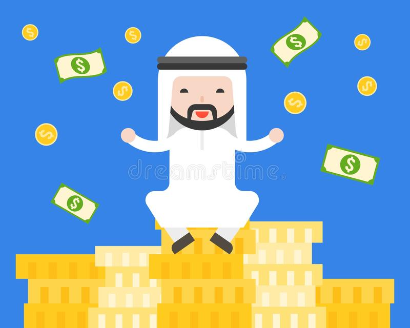 Cute Arab businessman sitting on pile of gold coins , business s royalty free illustration