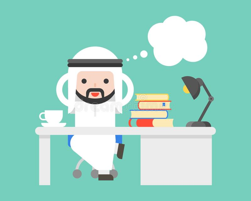Cute Arab saudi businessman thinking at office and blank bubble vector illustration