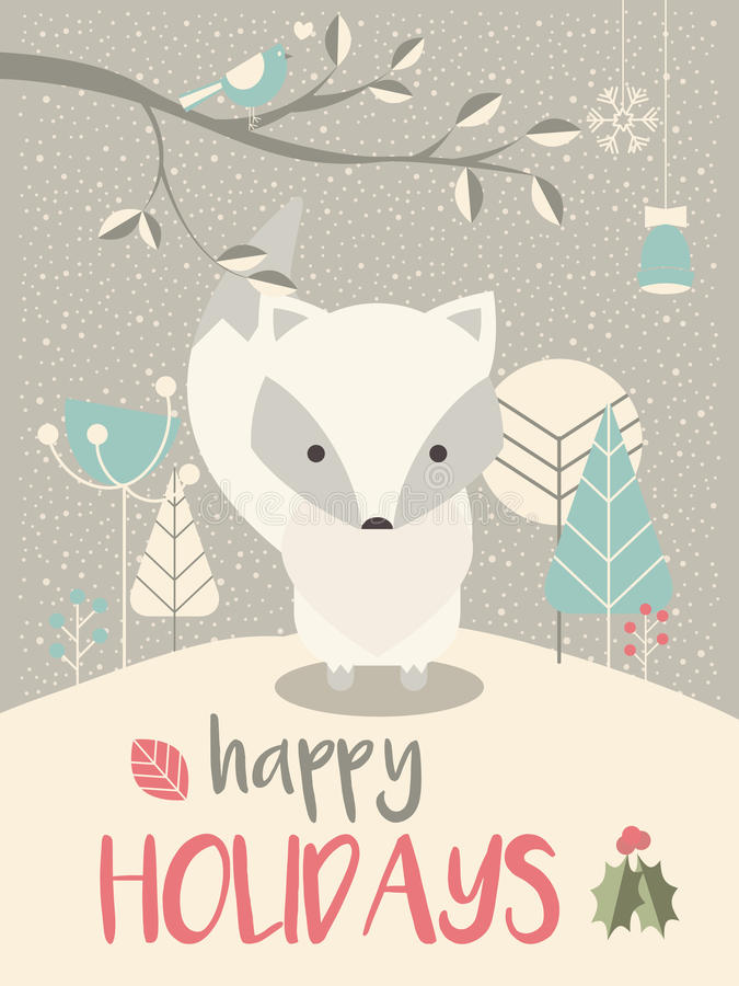 Cute Arctic Christmas baby fox with floral decoration stock illustration