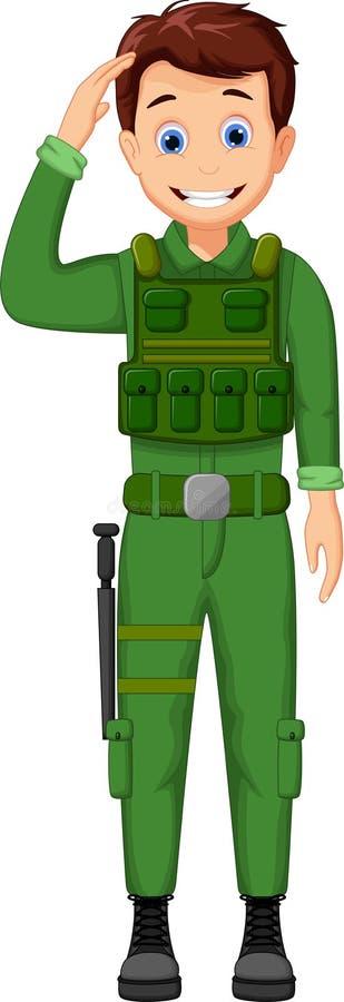 Cute Army Cartoon respectful vector illustration