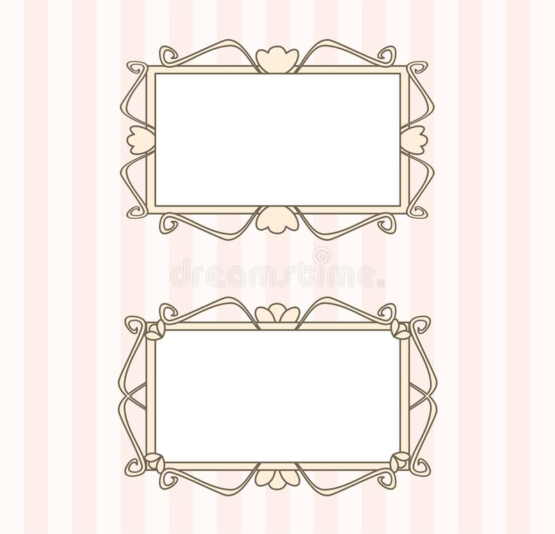 Cute, artdeco retro frames with white, empty space stock photo