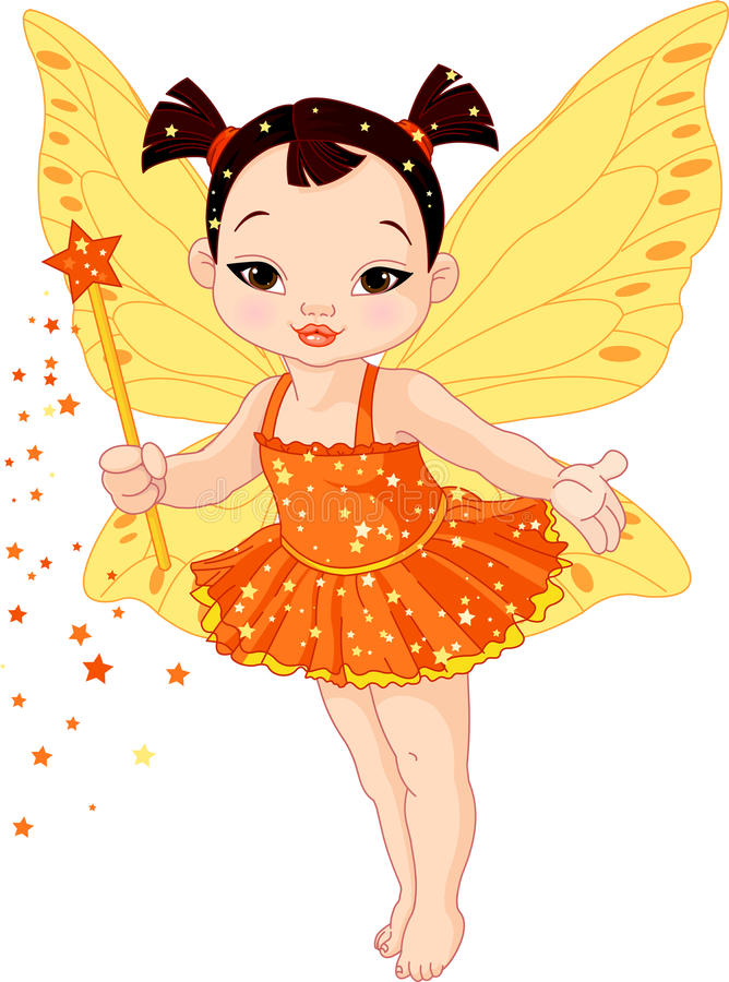 Cute Asian baby fairy. Illustration of Cute little Asian baby fairy in fly stock illustration