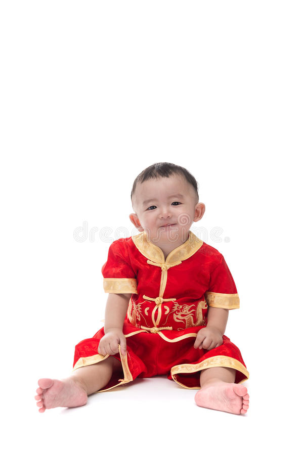 Cute Asian baby in traditional Chinese suit Isolated on white ba royalty free stock photos