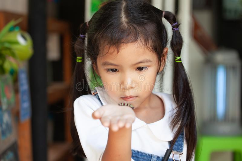 Cute asian child girl holding and playing with black caterpillar. With curious and fun. Black caterpillar crawling on her hand royalty free stock photos