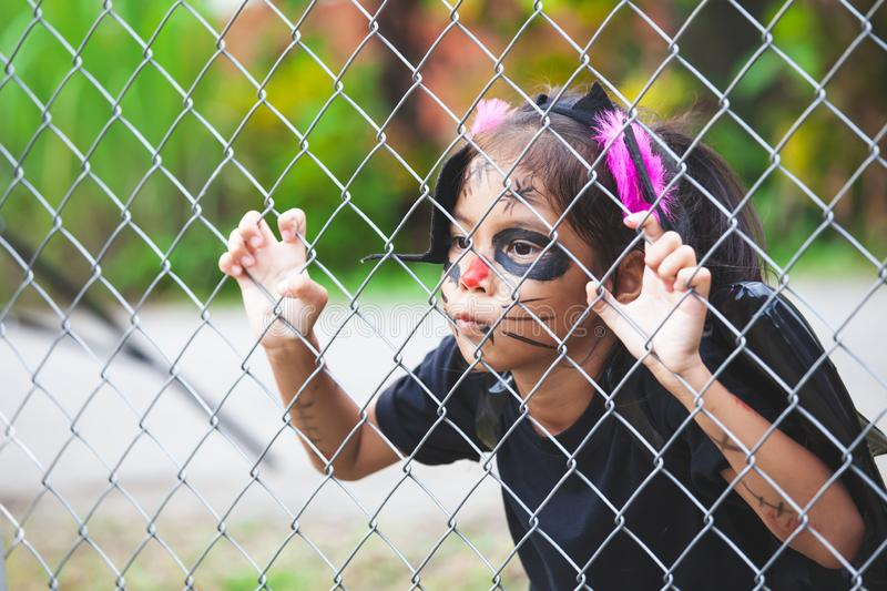 Asian child girl wearing halloween costumes and makeup holding steel mesh and  having fun on Halloween celebration stock photo