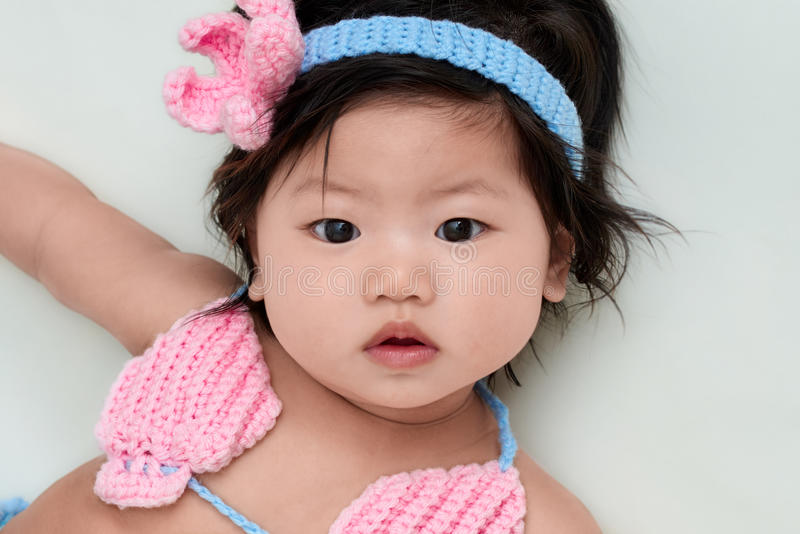 Cute Asian Chinese Baby Girl Stock Photo - Image of blue ... Cute Asian White Baby
