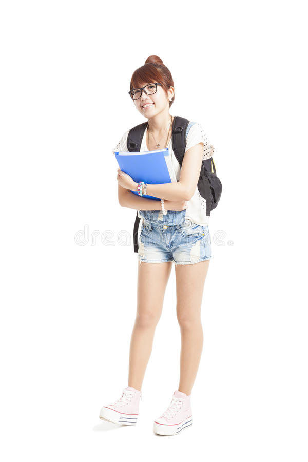 Cute asian college student studio portrait royalty free stock photography