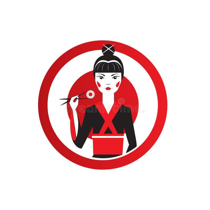 Cute Asian Girl Character on black kimono holding sushi with chopstiks. Round logo of sushi bar vector illustration