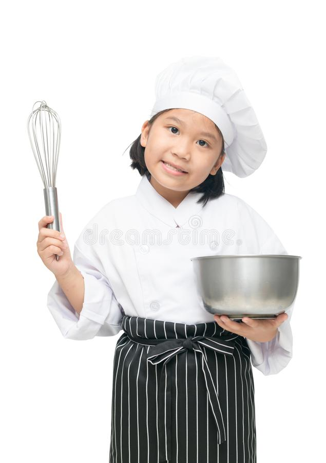 Cute asian girl chef holding whisk with bowl stock photos