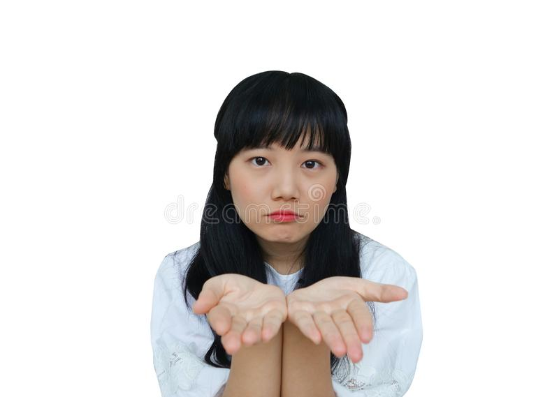 Cute Asian Girl Giving Bare Hands in camera stock foto