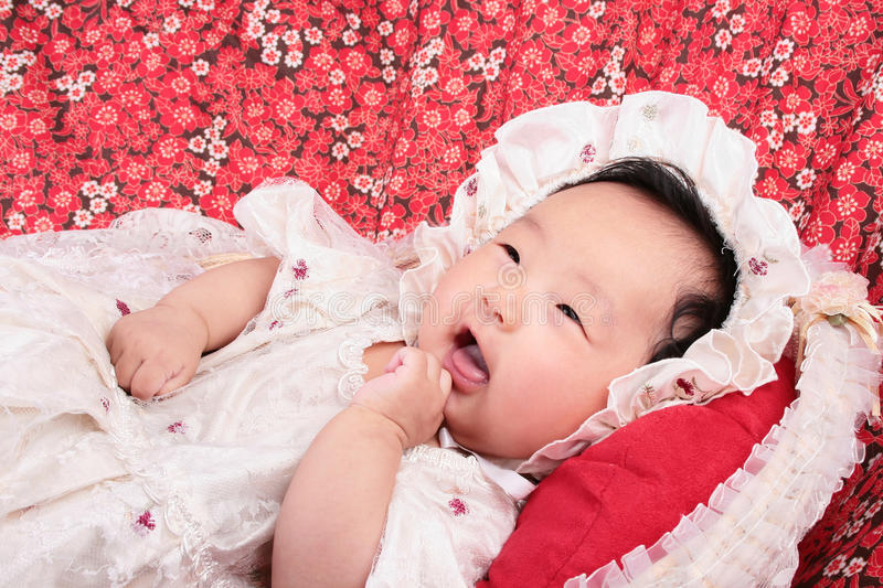 Cute asian girl with headgear royalty free stock image