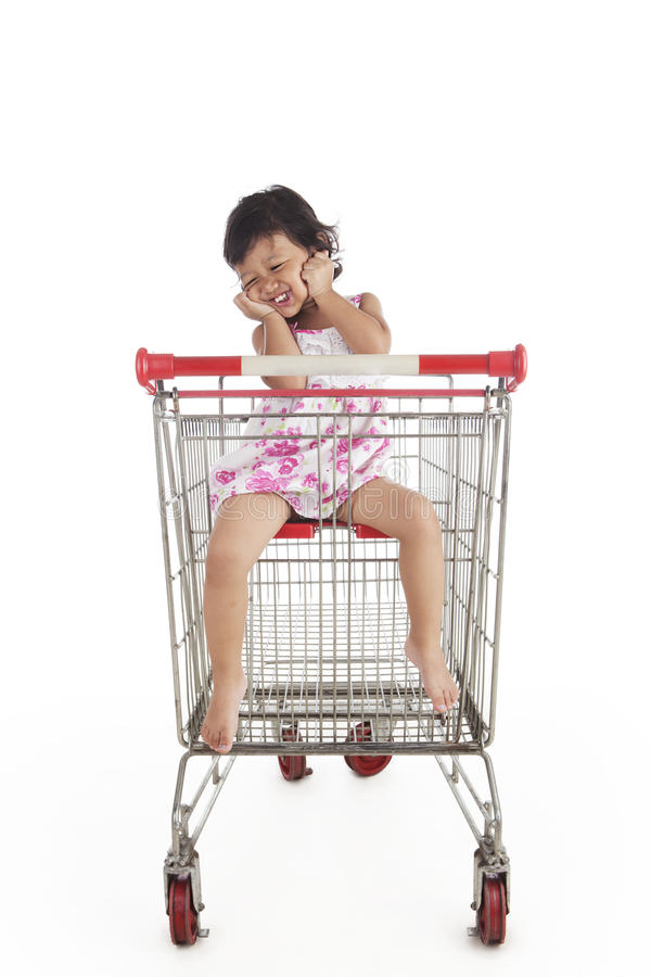 Download Cute Asian Girl Inside Shopping Trolley Stock Photo - Image: 25081960