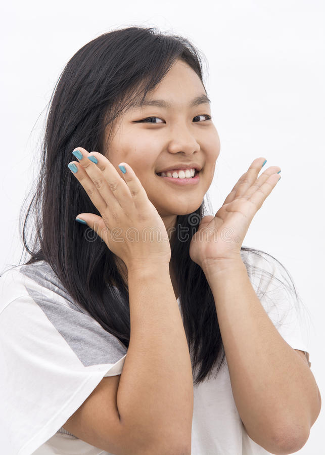 Cute happy asian girl on isolated background royalty free stock image