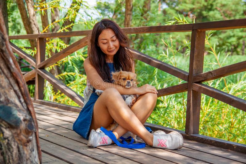 Cute asian girl with little dog walking in park. Woman sitting on green grass with dog - outdoor in nature portrait. Pet, domestic. Cute asian girl with little stock image