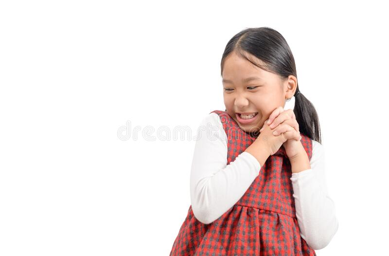Cute asian girl smile and feel glad or  satisfied face royalty free stock photos