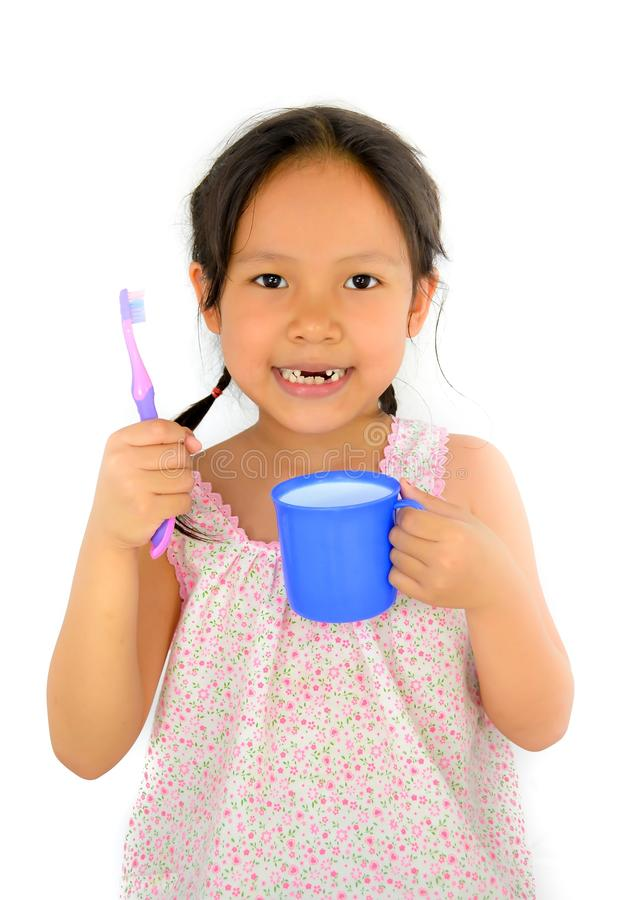 Cute Asian Girl And Toothbrush Stock Photo