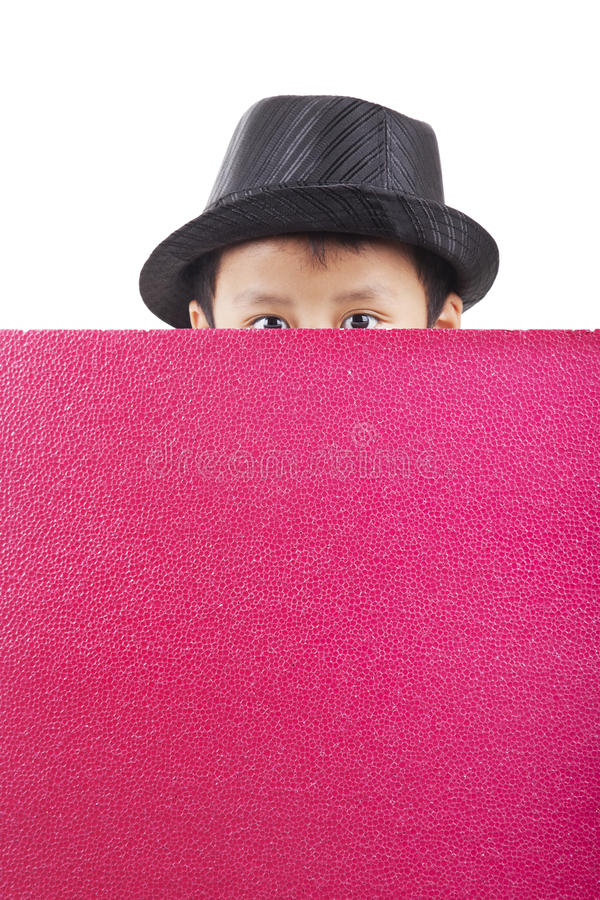 Download Cute Asian Kid Holding A Blank Banner Stock Photo - Image of expression, background: 25082032
