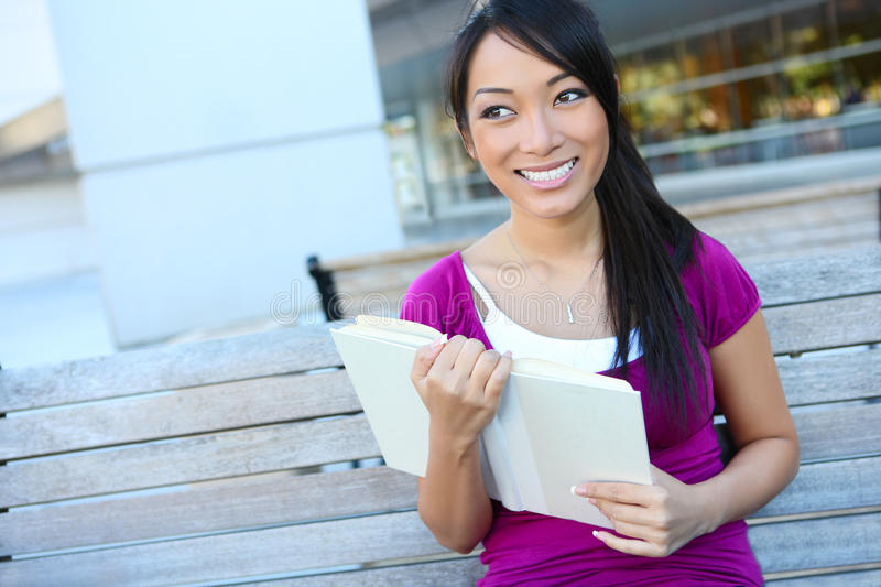 Cute Asian Student at College stock images