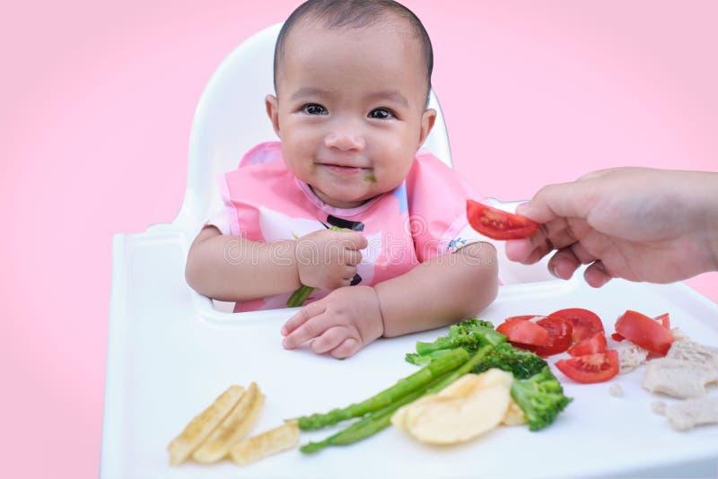 Cute asiatische Kleinkind, das von Händen gegessen wird, kleines Baby, das Bio-Gemüse mit BLW-Methode isst, Baby-geführte Entwöhn stockbilder