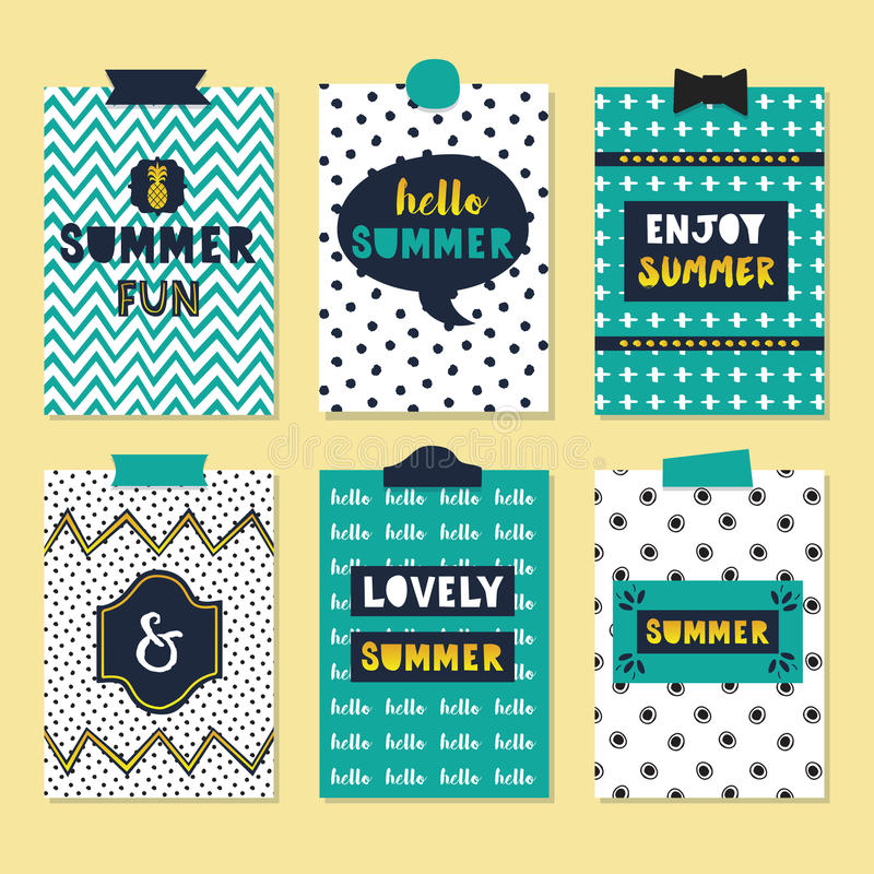 Cute assorted summer quotes journal cards set stock illustration