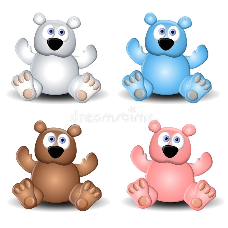 Cute Assorted Teddy Bears vector illustration