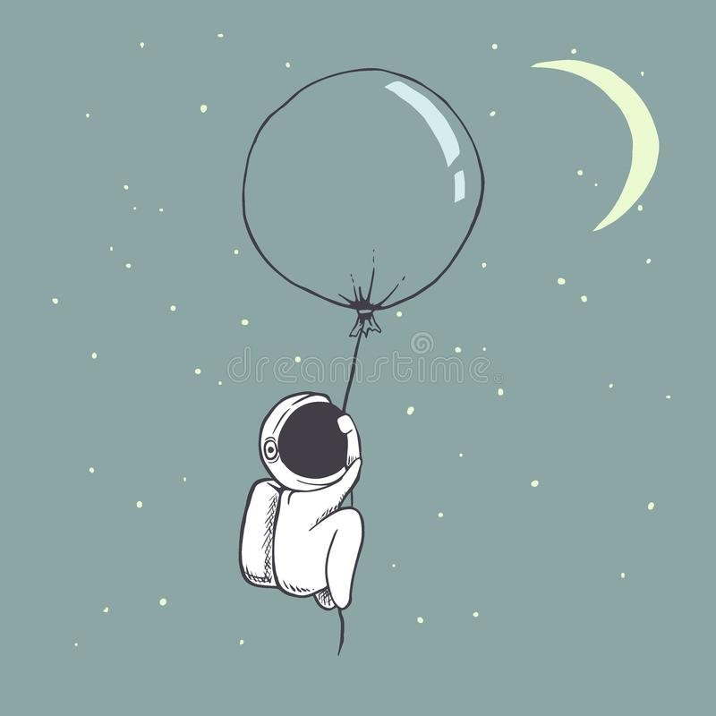 Cute astronaut flies with balloon vector illustration
