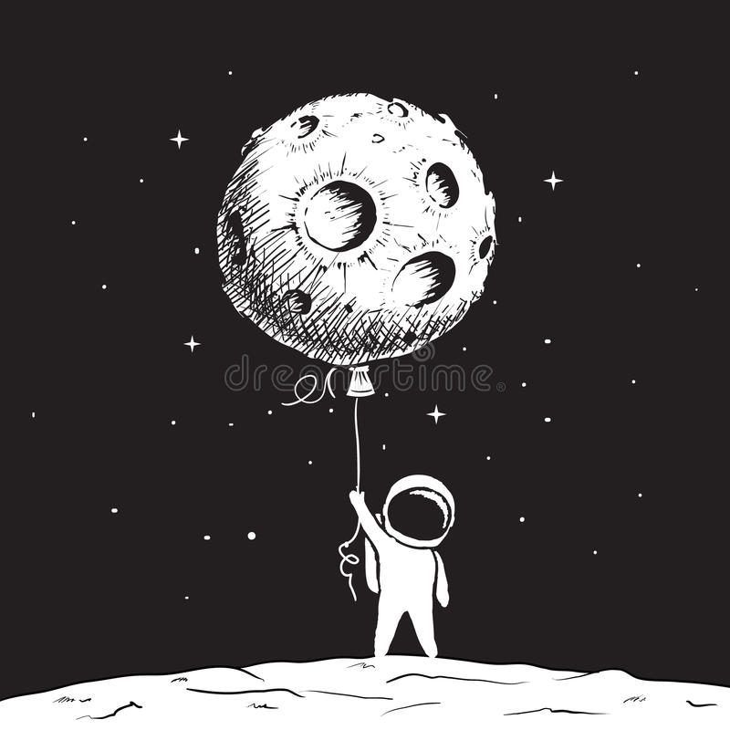 Cute astronaut keeps a moon royalty free illustration