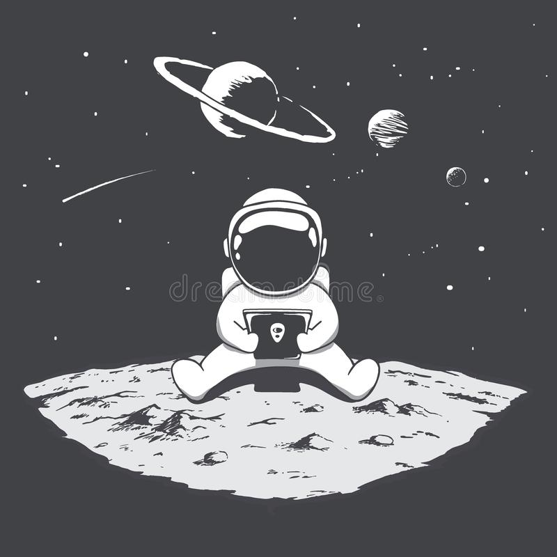 Cute astronaut playing on a smartphone vector illustration