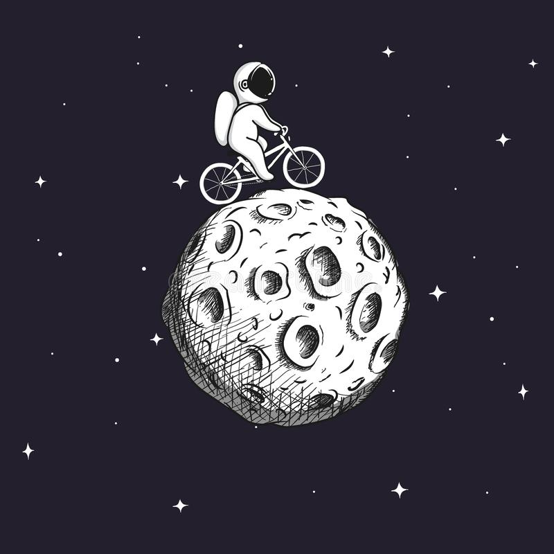 Cute astronaut rides on bicycle at the Moon royalty free illustration