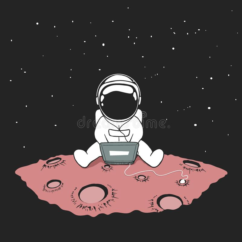 Cute An Astronaut Sits In Internet Stock Vector